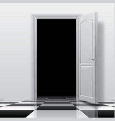 Entrance into a dark room with white open door on vector