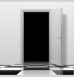 Entrance into a dark room with white open door vector