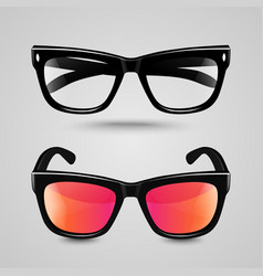 Eye glasses set Sunglasses and reading eyeglasses vector