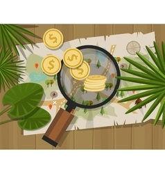 Find treasure hunt money map vector