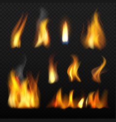 Fire realistic red orange tongue flame blazing vector
