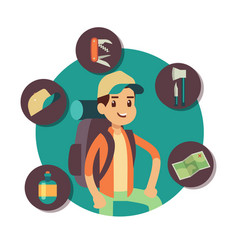 flat male tourist character with tourism vector image