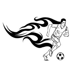 football soccer player silhouette with ball vector image