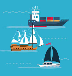 freigther boats at sea vector image