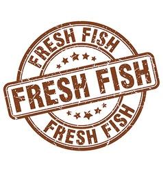 Fresh fish brown grunge round vintage rubber stamp vector