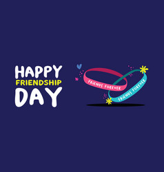 Friendship bracelet web banner for friend day vector