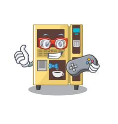 Gamer coffee vending machine in a karakter vector
