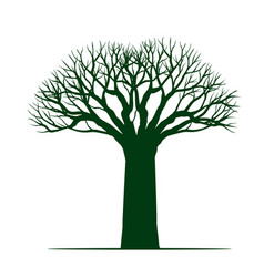 Green old tree without roots leaves vector