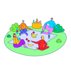Group friend relax together corporate picnic time vector