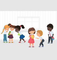 group multiethnic kids gossiping and bullying vector image