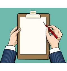 Hands holding with empty paper sheet vector image