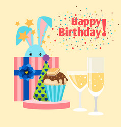 happy birthday card with rabbit vector image vector image