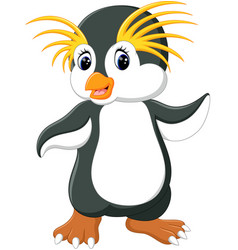 happy cartoon penguin rockhopper vector image