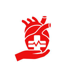 heart care medical flat icon vector image