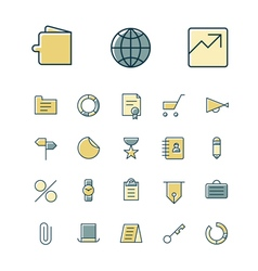 icons thin blue business money vector image