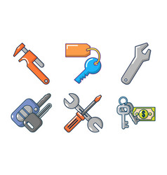 keys icon set cartoon style vector image