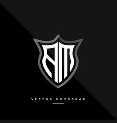 Letters am monochrome silver shield monogram logo vector