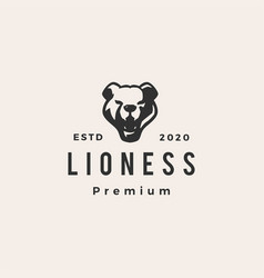 lioness hipster vintage logo icon vector image