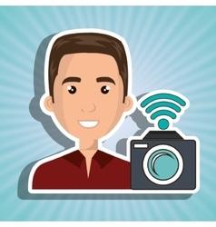 Man camera photography wifi vector