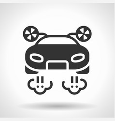 monochromatic flying car icon with hovering vector image