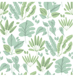 Naive style tropical forest leaves tile pattern vector