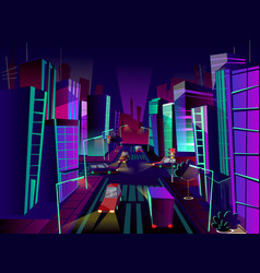 Night city cartoon vector