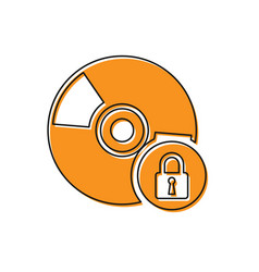 Orange cd or dvd disk with closed padlock icon vector