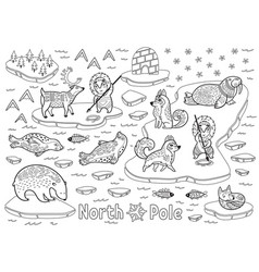 Outline north pole animals eskimos and yurt vector