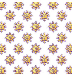 Pattern patches hot sun icon vector