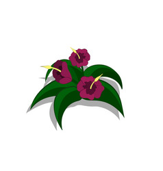 plants in isometric style cartoon tropical bush vector image