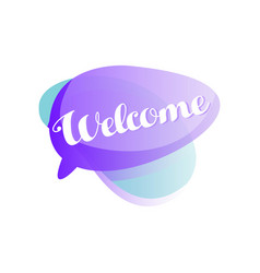purple and blue speech bubble with short phrase vector image
