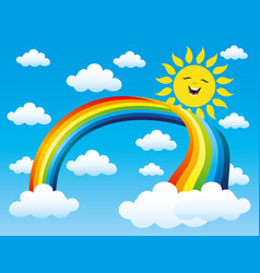 Rainbow and sun vector