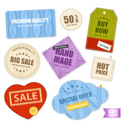 realistic knitted badges labels collection vector image