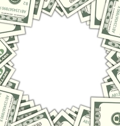 Round Frame with Dollars with Shadows on White vector image