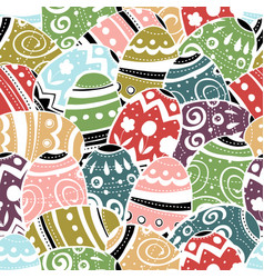 seamless easter eggs pattern colorful background vector image