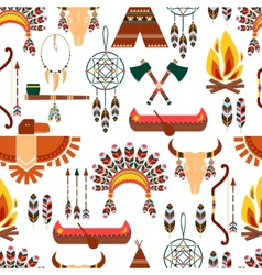 Seamless Pattern American Tribal Native Symbols vector