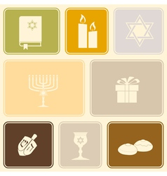 seamless pattern with hanukkah symbol icons vector image