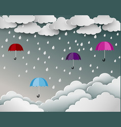 season of rainy in paper art scene background vector image
