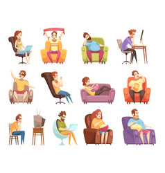Sedentary lifestyle retro cartoon icons set vector