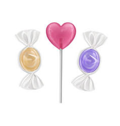 set colorful sweet lollipops candies shape vector image
