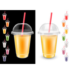set disposable plastic glass vector image