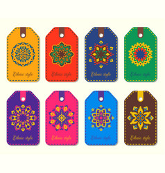 set of ethnic template tags logos mandalas in vector image