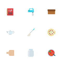 Set of food icons flat style symbols with pizza vector
