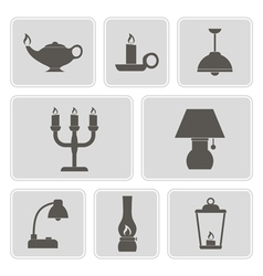 Set of monochrome icons with lamps vector