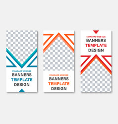 set of vertical white web banners with place for vector image