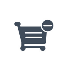 shopping cart with minus sign icon filled flat vector image