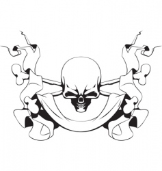 skull and ribbon vector image