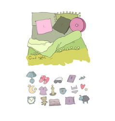 sleeping set cozy pillows and a blanket good vector image