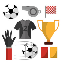 soccer t shirt whistle flag cards ball trophy vector image