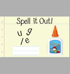 Spell english word glue vector